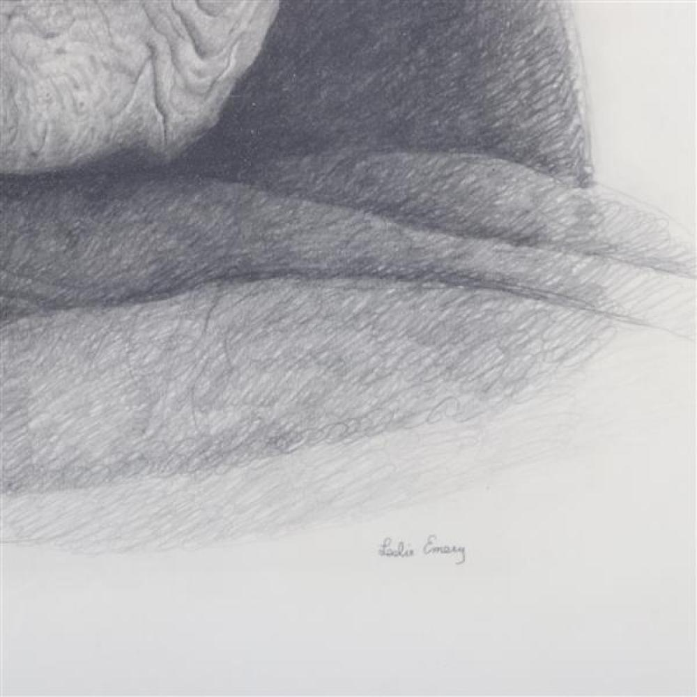 """Leslie Emery, (American. 1912-1998), portrait of old woman, pencil on paper, 27 1/2""""H x 21 3/4""""W (sight), 32 3/4""""H x 26 1/2""""W (frame..."""