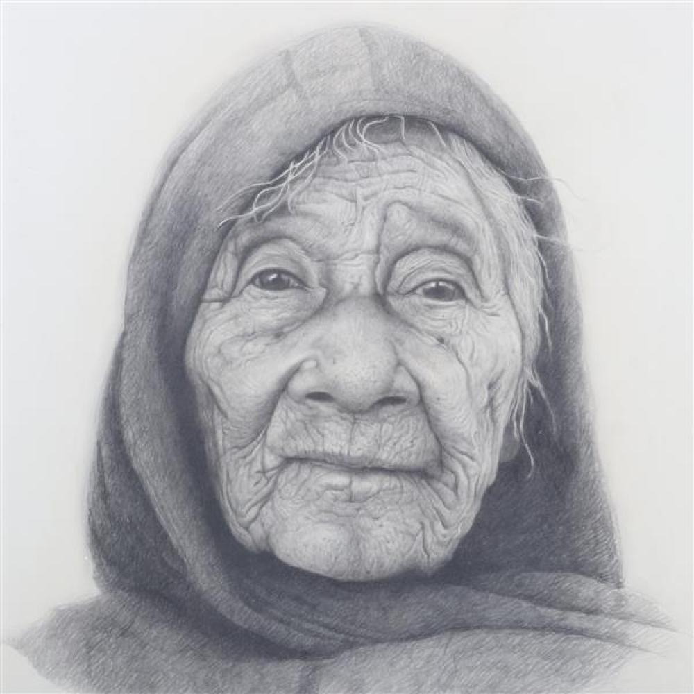 Leslie Emery, (American. 1912-1998), portrait of old woman, pencil on paper, 27 1/2