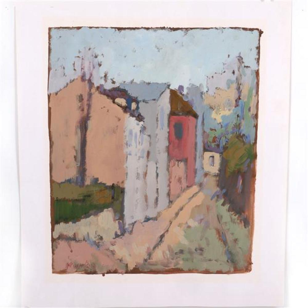 "George Marinko, (Connecticut / New York, 1908-1989), New England street view, oil on paper, 18""H x 15""W (plate). 22 3/4""H x 19 1/2""W..."