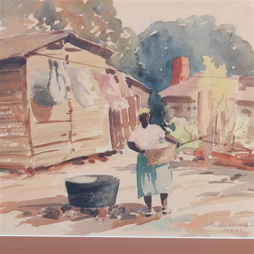 "Frank Edward Lloyd, (Florida, 1895-1945), laundress, 1943, watercolor on paper, 12""H x 16""W (sight), 20""H x 24""W (frame)"