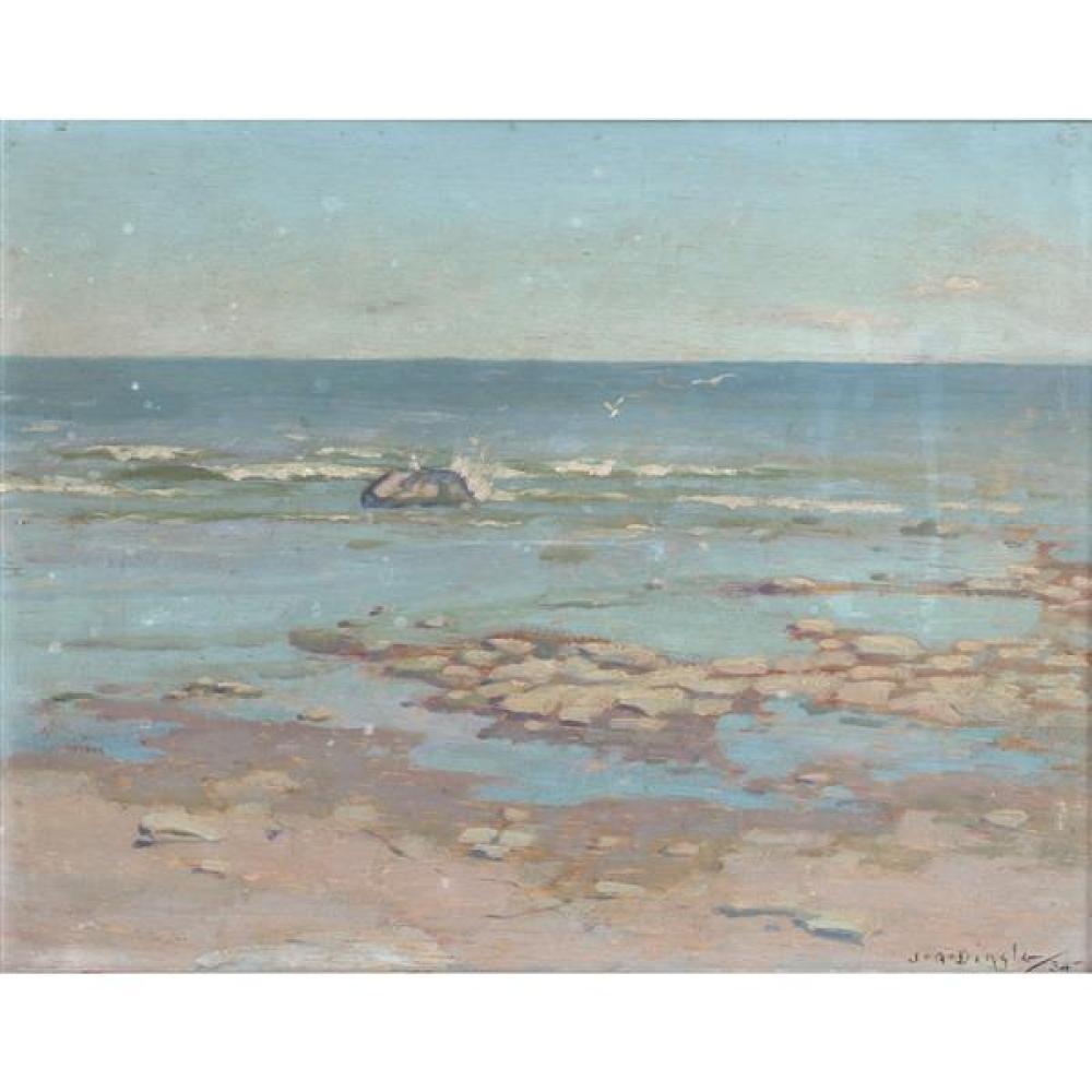 "John Adrian Darley Dingle, (Canadian, 1911 - 1974), The Shallows, 1934, oil on panel, 10 1/4""H x 13""W (sight), 11 3/4""H x 14 1/2""W (..."