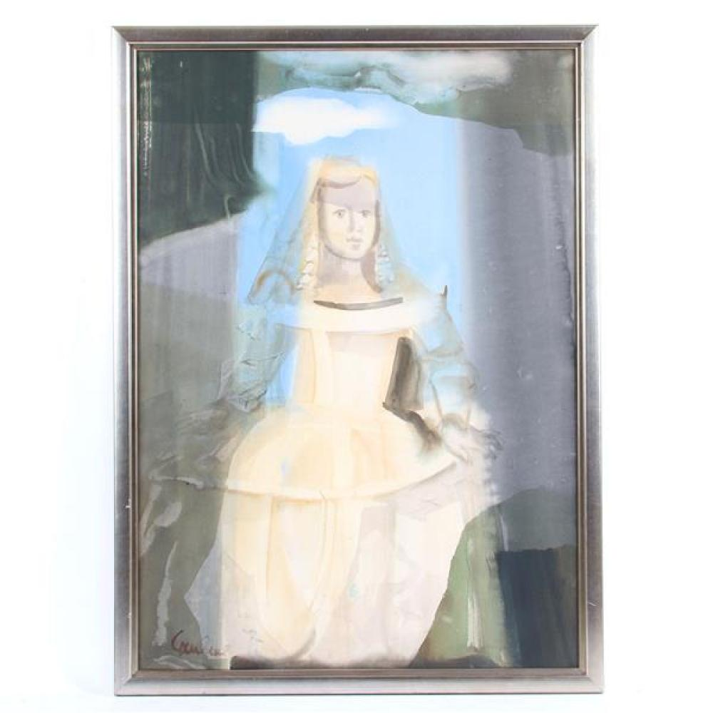 Dzemma Skulme, (Latvian, b. 1925), Infanta, LARGE portrait of a girl figural abstract, watercolor on paper, 39