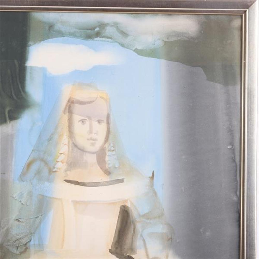 """Dzemma Skulme, (Latvian, b. 1925), Infanta, LARGE portrait of a girl figural abstract, watercolor on paper, 39""""H x 27 3/4""""W (sight),..."""