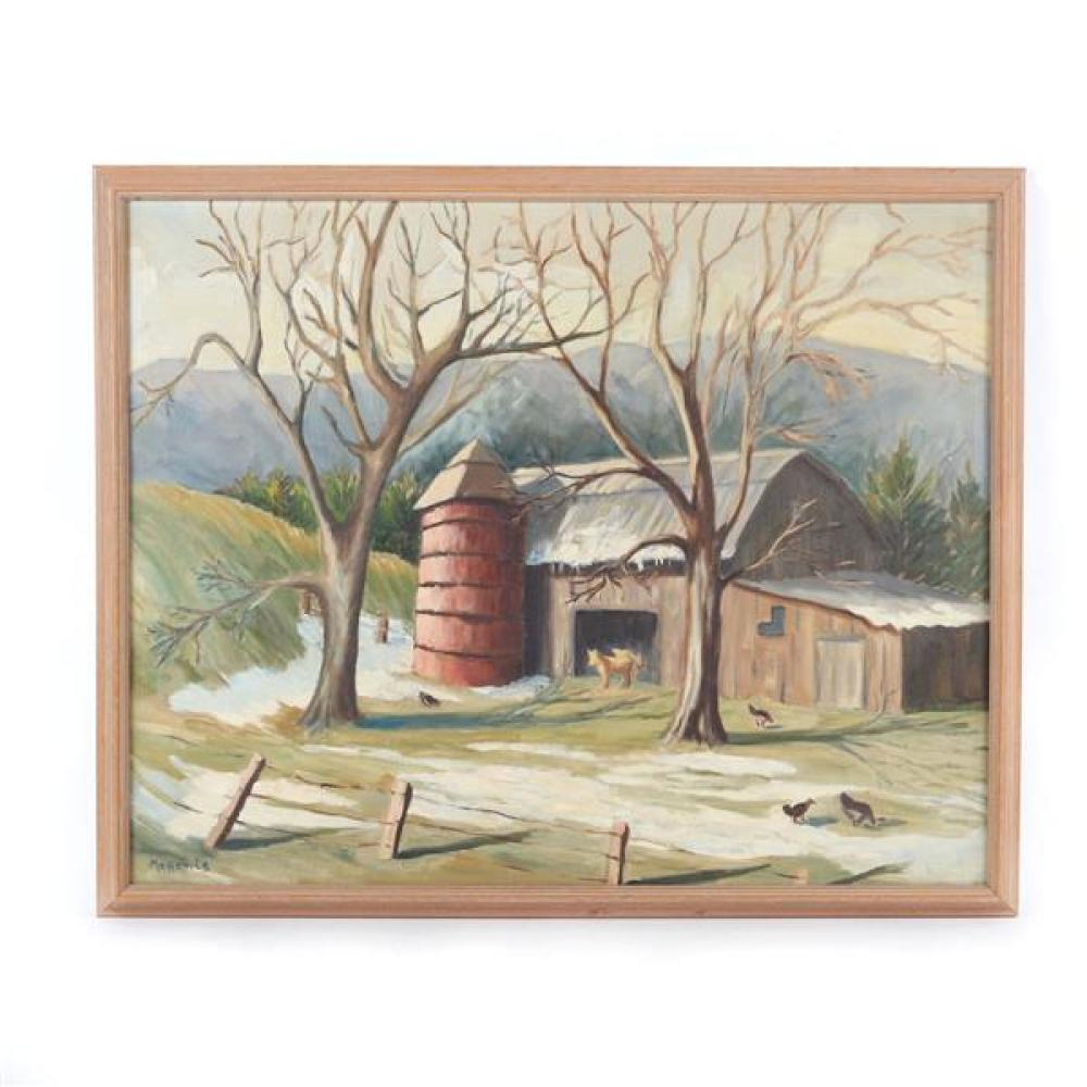 Magenis, (American, 20th Century), barnyard landscape with foothills in the background, Regionalist painting, oil on canvas, 23 1/4