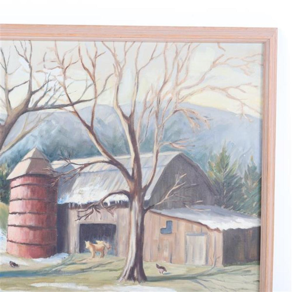 """Magenis, (American, 20th Century), barnyard landscape with foothills in the background, Regionalist painting, oil on canvas, 23 1/4""""..."""