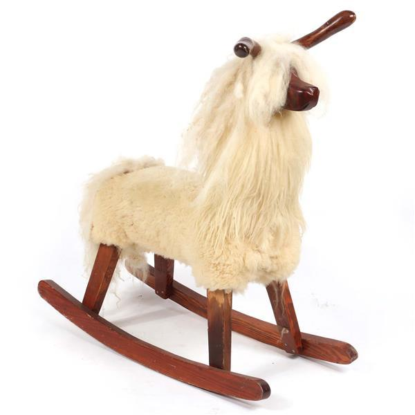 Vintage 1950s midcentury Danish modern Llama / Alpaca rocking horse with fur and carved wood features.