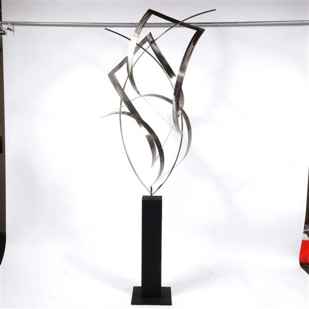 Curtis Jere Artisan House kinetic floor standing abstract sculpture; steel on iron base, signed and dated 2006.