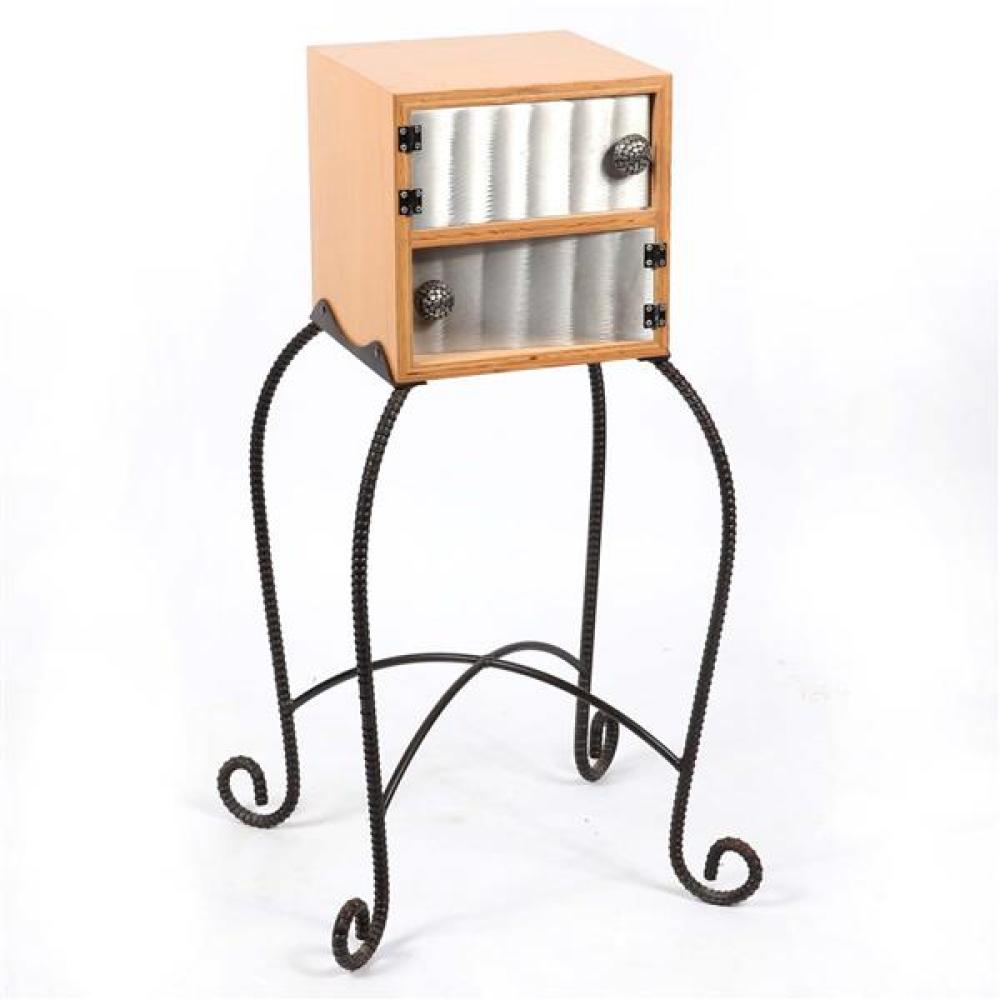 Contemporary artisan cabinet; wooden box with steel doors on wrought iron base.