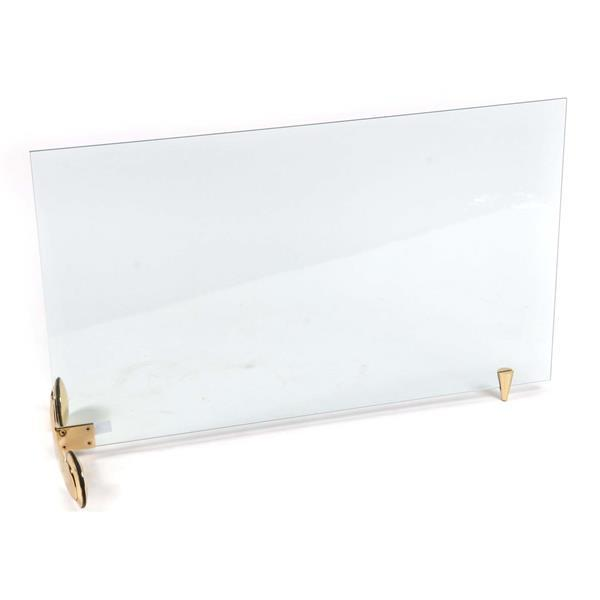 Vintage modern French design rolling glass fireplace screen on brass wheels and pivot point.