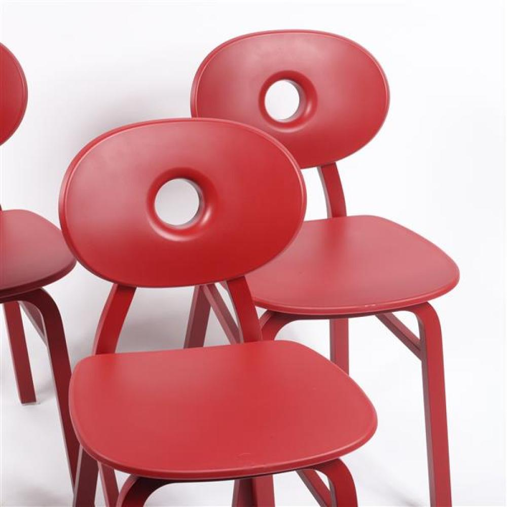 Zanotta Elipse dining chairs (4 RED) designed by Patrick Jouin.