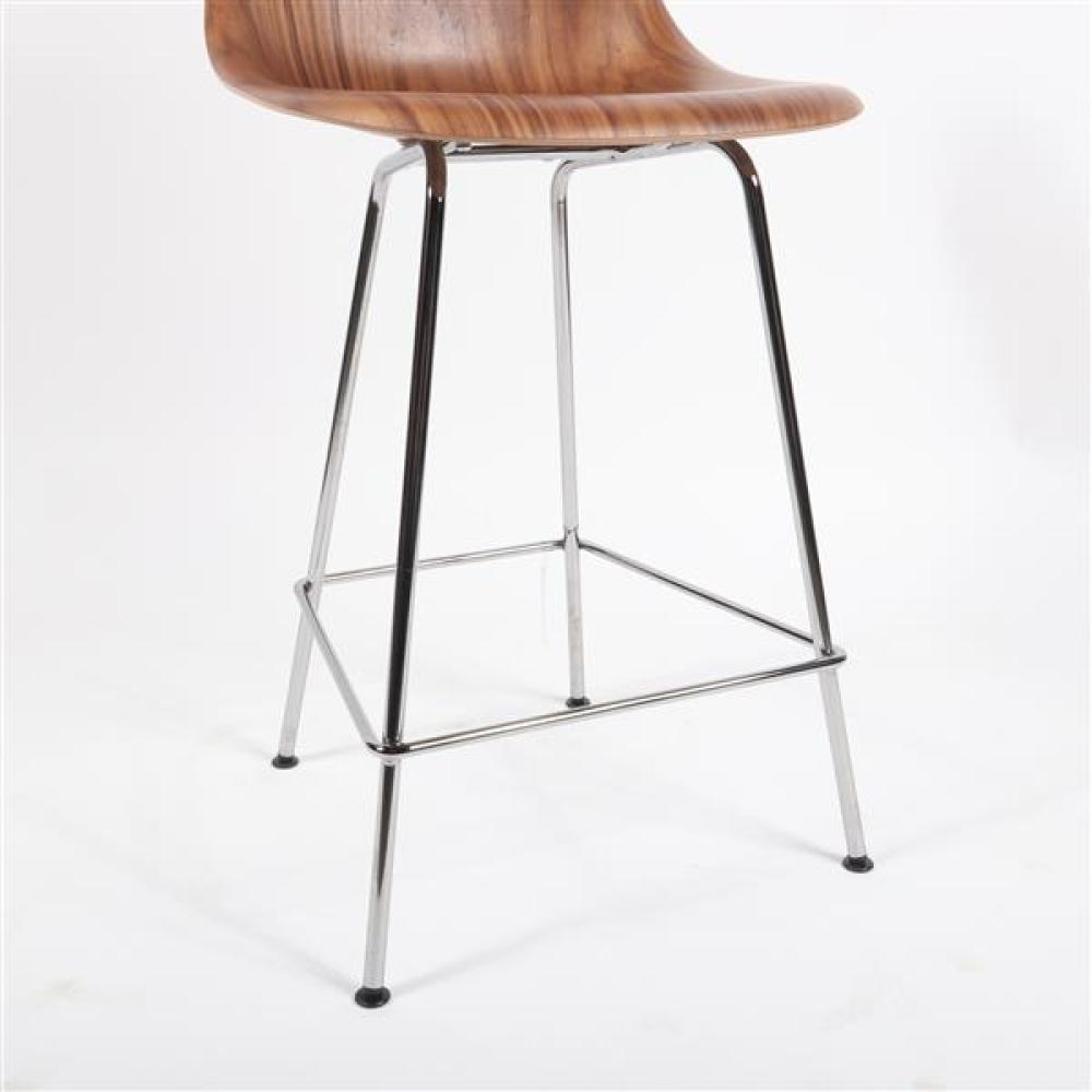 Herman Miller Eames design molded wood shell chair counter stool, chrome base.