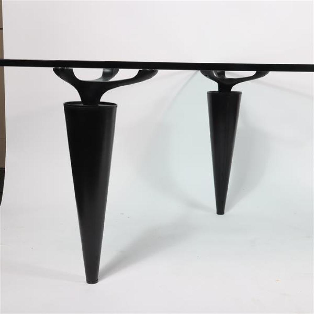 Cassina 'Oscar' triangular tri-leg glass top table designed 1991 by Isao Hosoe (Japanese, 1942–2015).