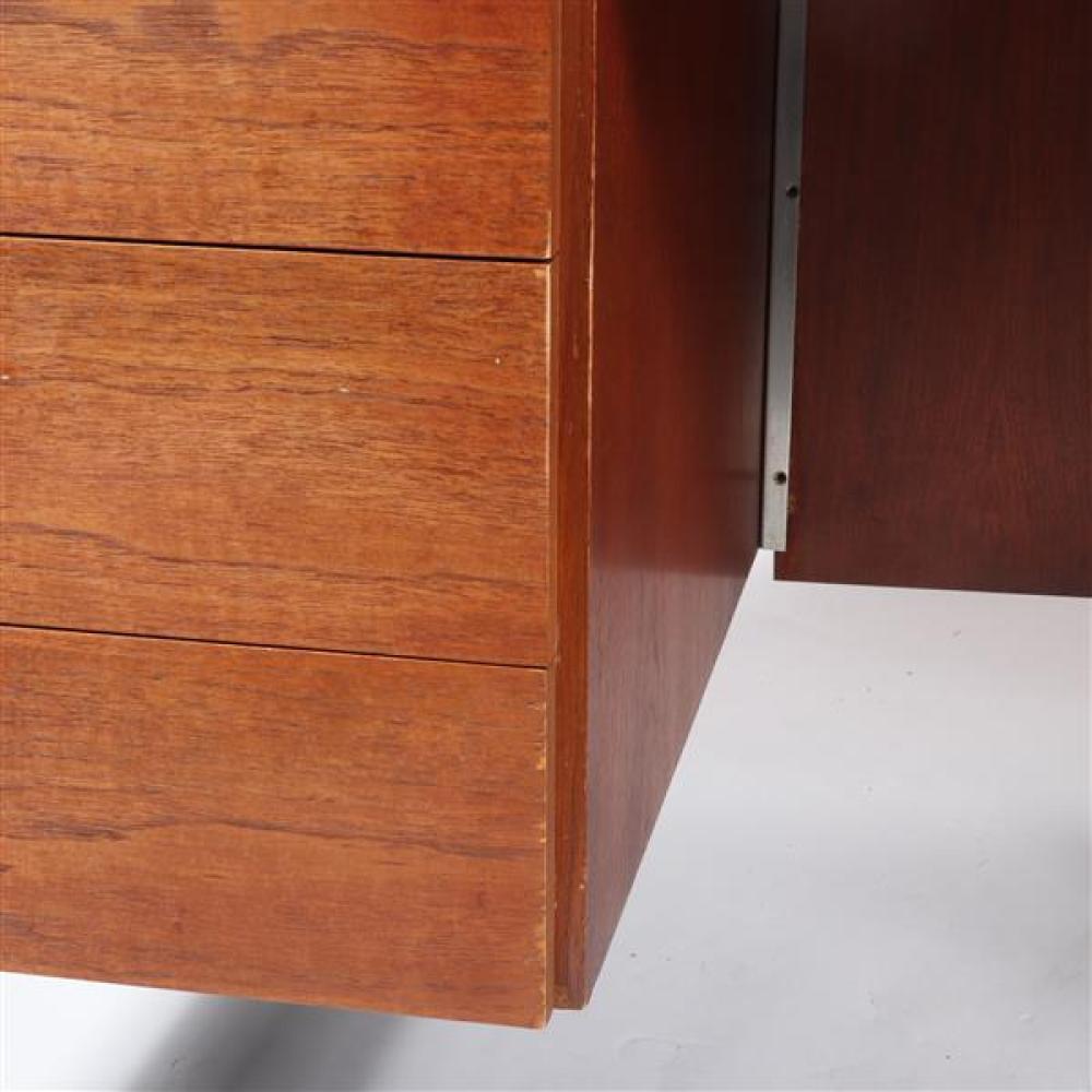 Vintage Florence Knoll walnut executive desk with chromed steel legs.
