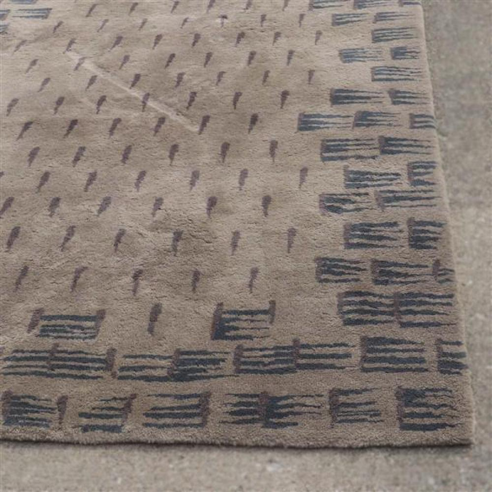 Toulemonde Bouchart vintage 'Tempete' high pile modernist pattern hand tufted organic wool area rug, 6x9.
