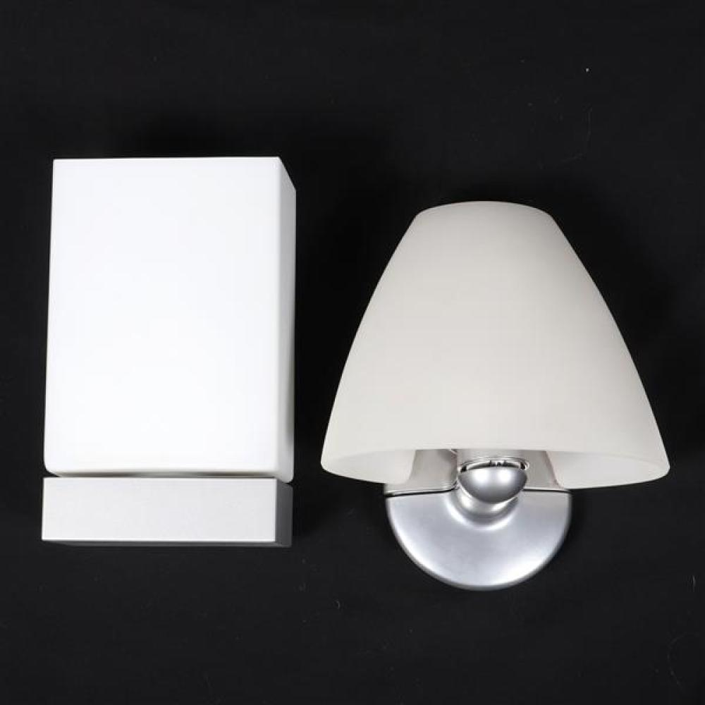 Two Flos Italy wall sconce lights with opaline glass diffusers and die cast aluminum; 'Sally' and 'Tin Square' designed by Marcello