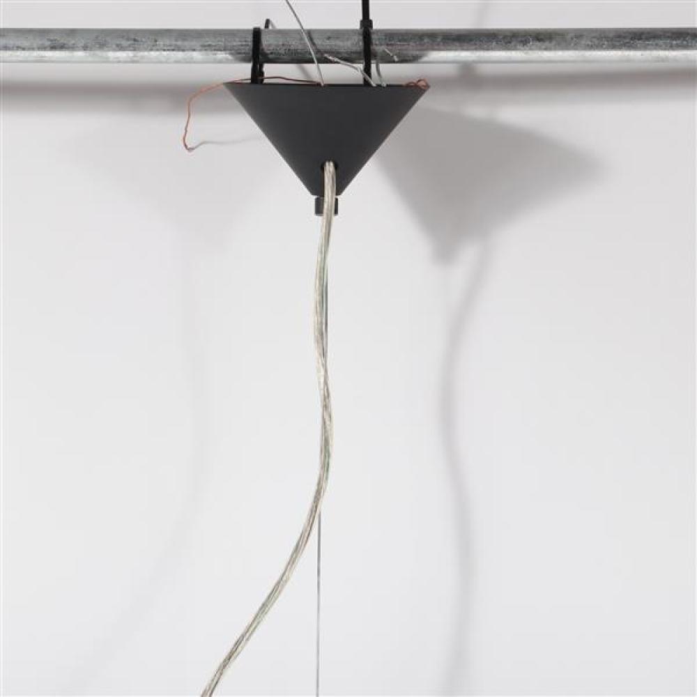 Tom Dixon pressed smoke glass 'Lens' form suspension pendant lamp.