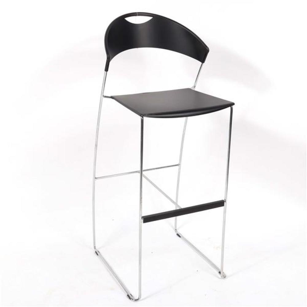 Four Baleri Italia 'Juliette' stackable bar stools designed by Hannes Wettsein, three black, one brown.