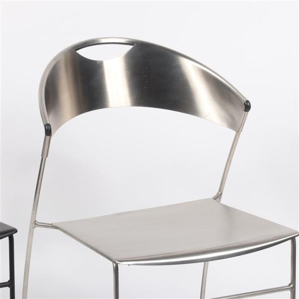 Two Baleri Italia 'Juliette' stackable chairs designed by Hannes Wettsein, in silver and black.