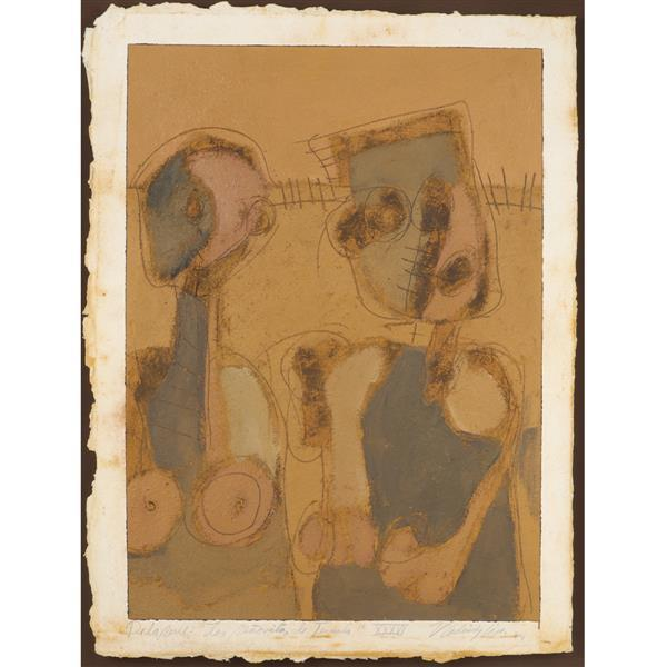 "Vladimir Cora, (California / Mexico, b.1951), Dela Serie: ""Los Senoritas de Tecuala"" XXXVI, 1984, oil / mixed media on paper"