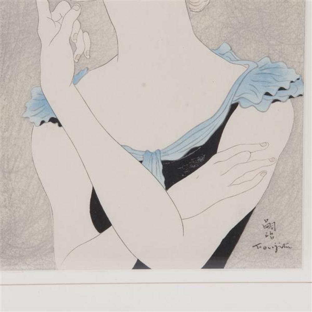 Leonard Tsuguharu Foujita, (Japanese / French, 1886 - 1968), Portrait de Jeune Femme Blonde, 1935, hand colored woodcut engraving, 1...