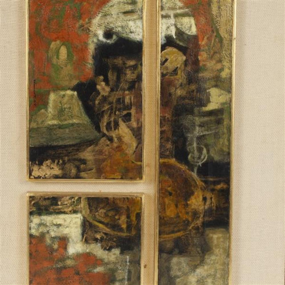 Jose Samano, (Mexican, b. 1942), abstract triptych, oil on panel, 14