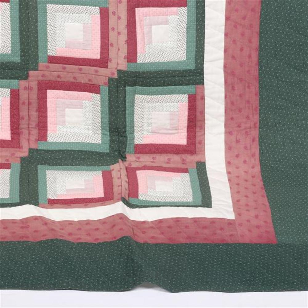 Sugar Creek, Ohio old order Amish Log Cabin quilt, (queen size) made by Mary Schrock.