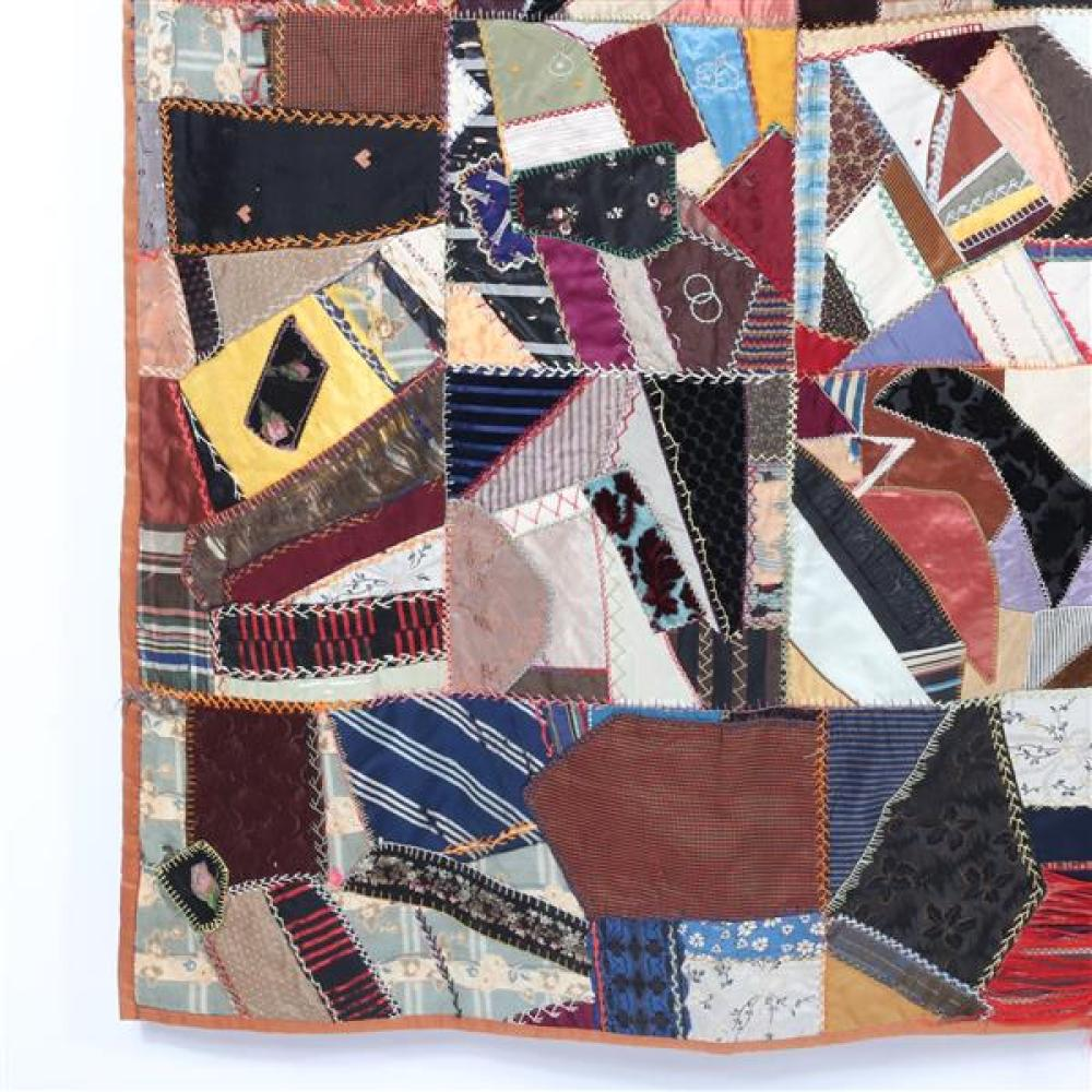 Antique pre 1900 crazy quilt, family heirloom, oil painting on some fabric, repair needed.