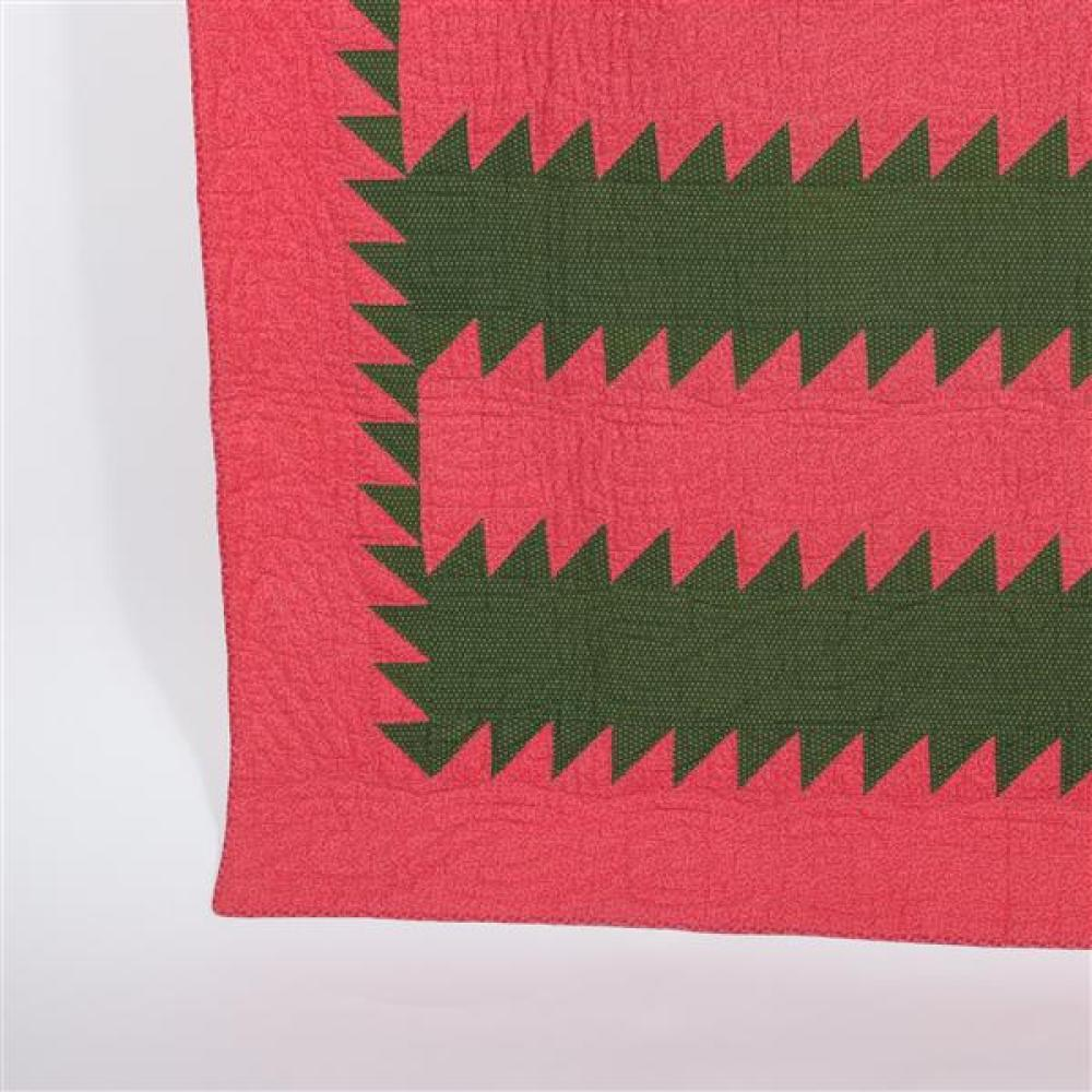 Adams County, PA, Mennonite Tree Everlasting quilt, 1890, seven stitches per inch, red and gray sawtooth design.