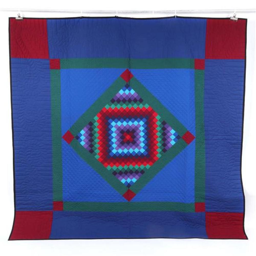 Old Order Lancaster, Pennsylvania Amish traditional diamond in a square quilt in blue, red and gray green.