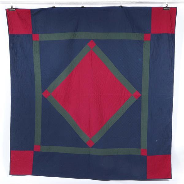 Ohio Amish blue traditional diamond in a square quilt made by Esther in blue, red, green.