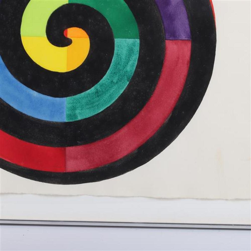 "Unknown , (20th Century), Color Wheel with Black Spiral, minimalist gouache on Fabriano paper, 22 1/4""H x 30""W (paper), 26 3/4""H x 3..."