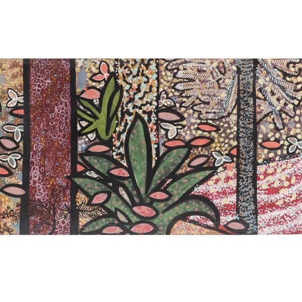 "Edward Simonek, (Chicago / Texas, 1932-2014), Forest Patterns, acrylic on board, 23 1/4""H x 39 1/4""W (sight), 31""H x 47 1/4""W (frame..."