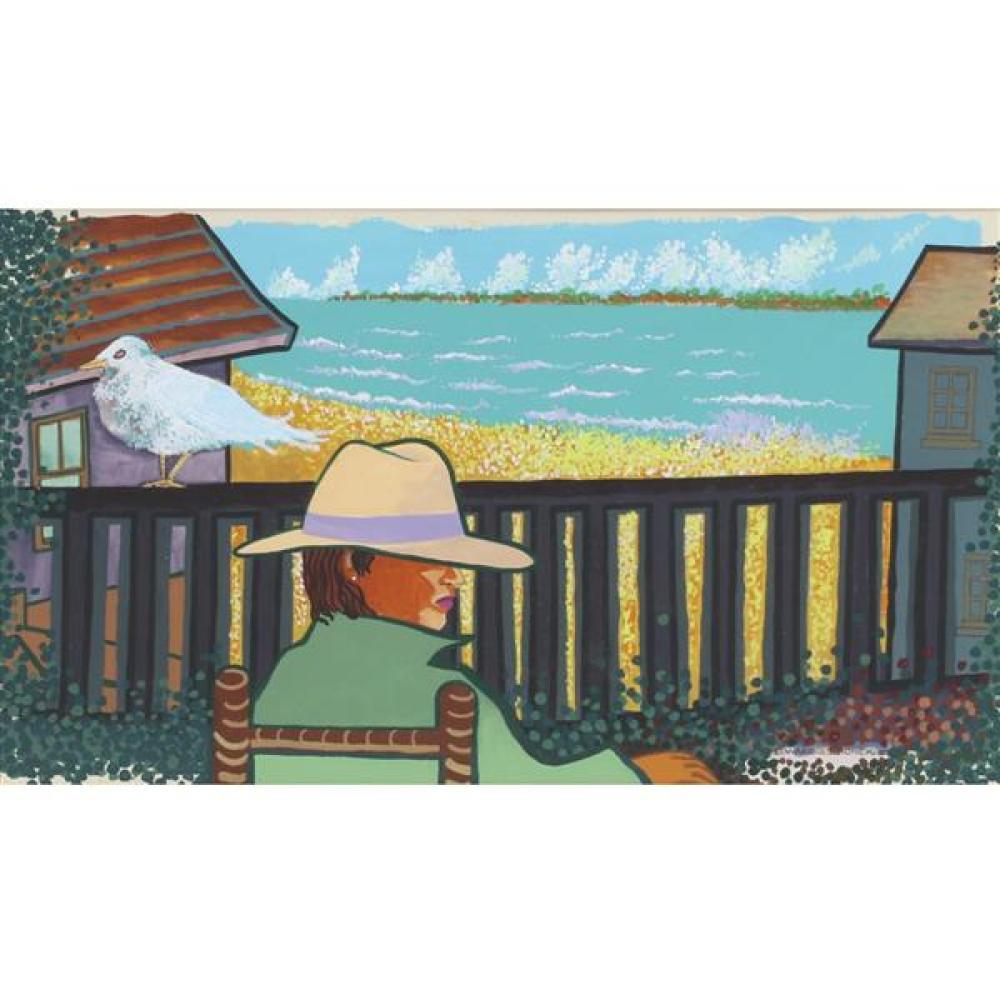 "Edward Simonek, (Chicago / Texas, 1932-2014), Her Beach, acrylic on board, 14""H x 24""W (sight), 20 1/2""H x 30 1/4""W (frame)"