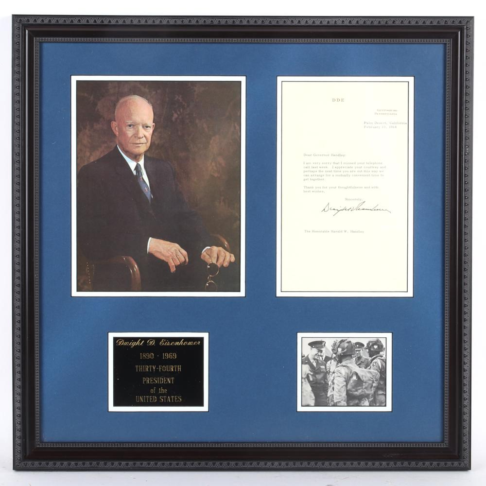 President Dwight Eisenhower Autographed & Framed Photo Collage