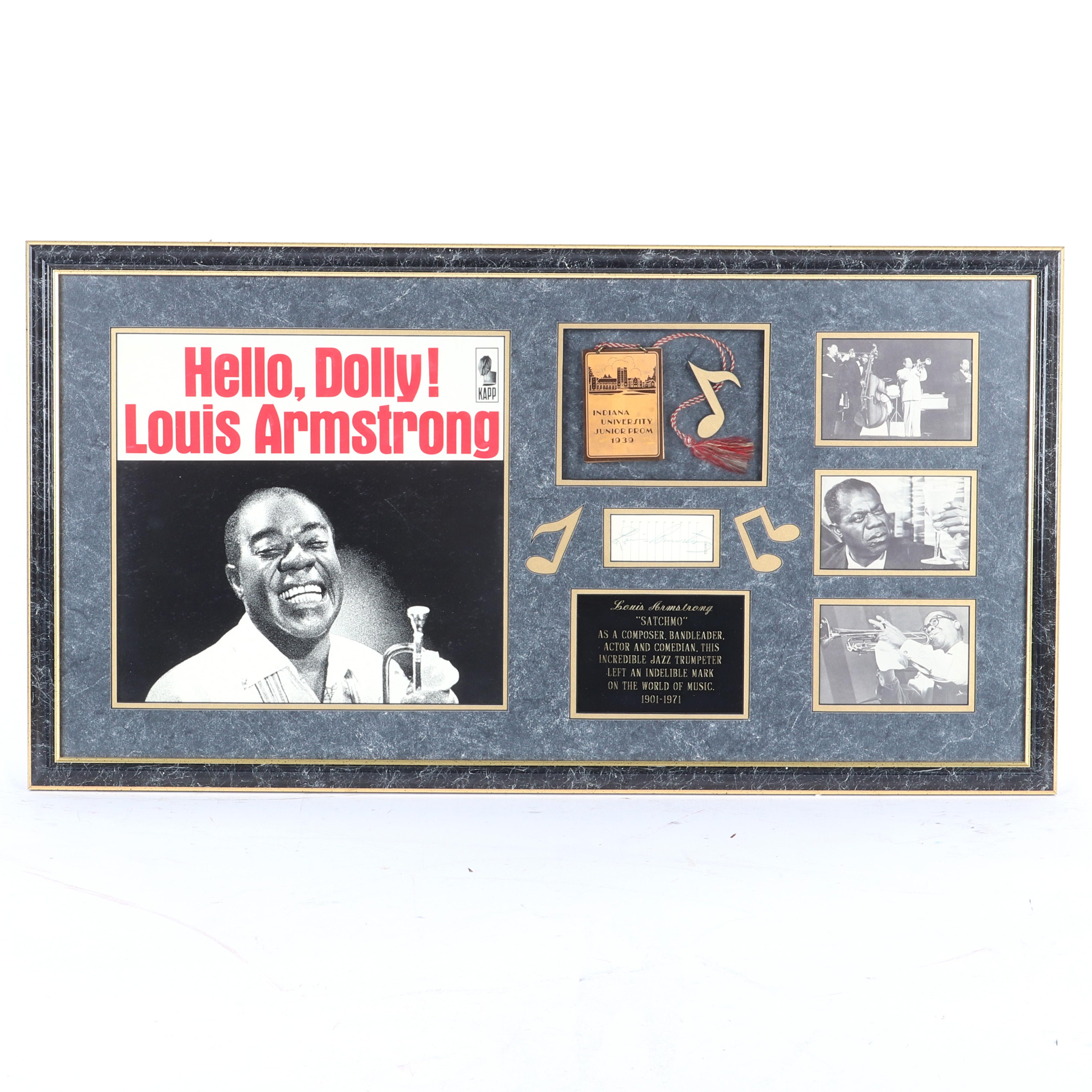 Louis Armstrong Autograph Framed Collage