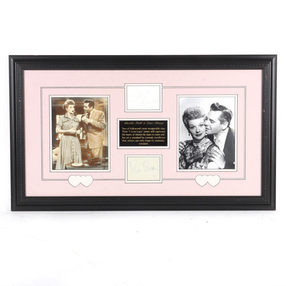 Desi Arnaz & Lucille Ball Autographed & Framed Collage