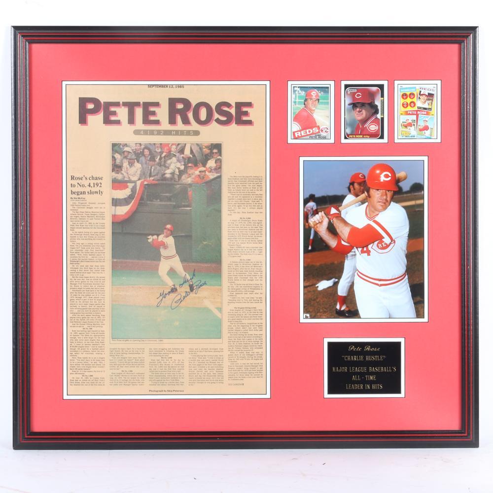 Pete Rose Autographed & Framed Cincinnati Enquirer 4192 Hits Collage
