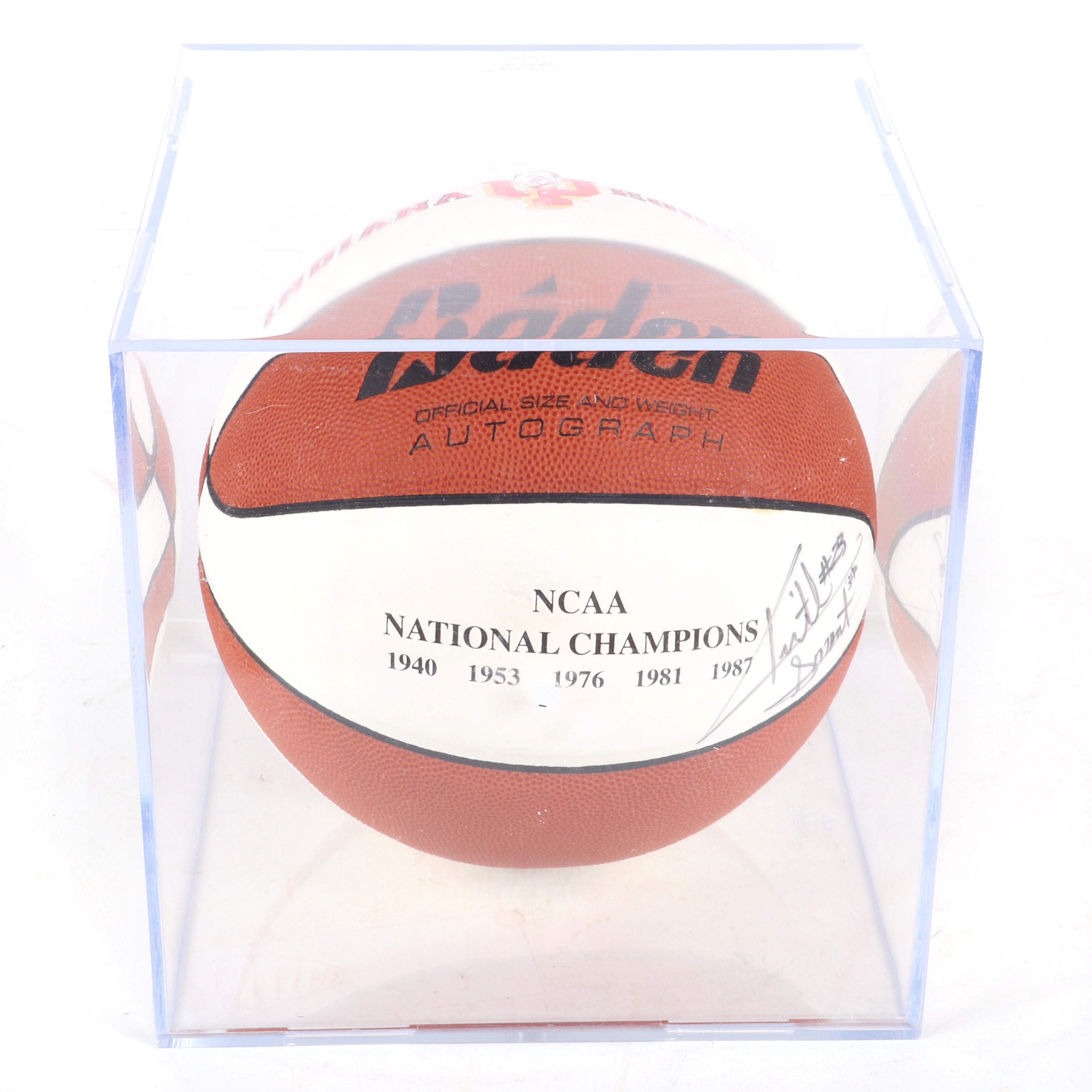 Keith Smart Autographed Indiana University NCAA Champs Logo Basketball