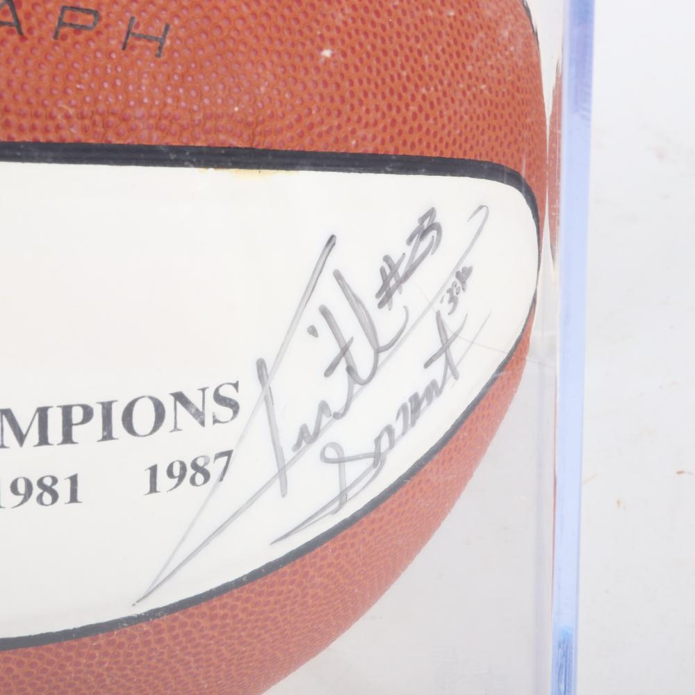 Keith Smart Autographed Indiana University NCAA Champs Logo Basketball