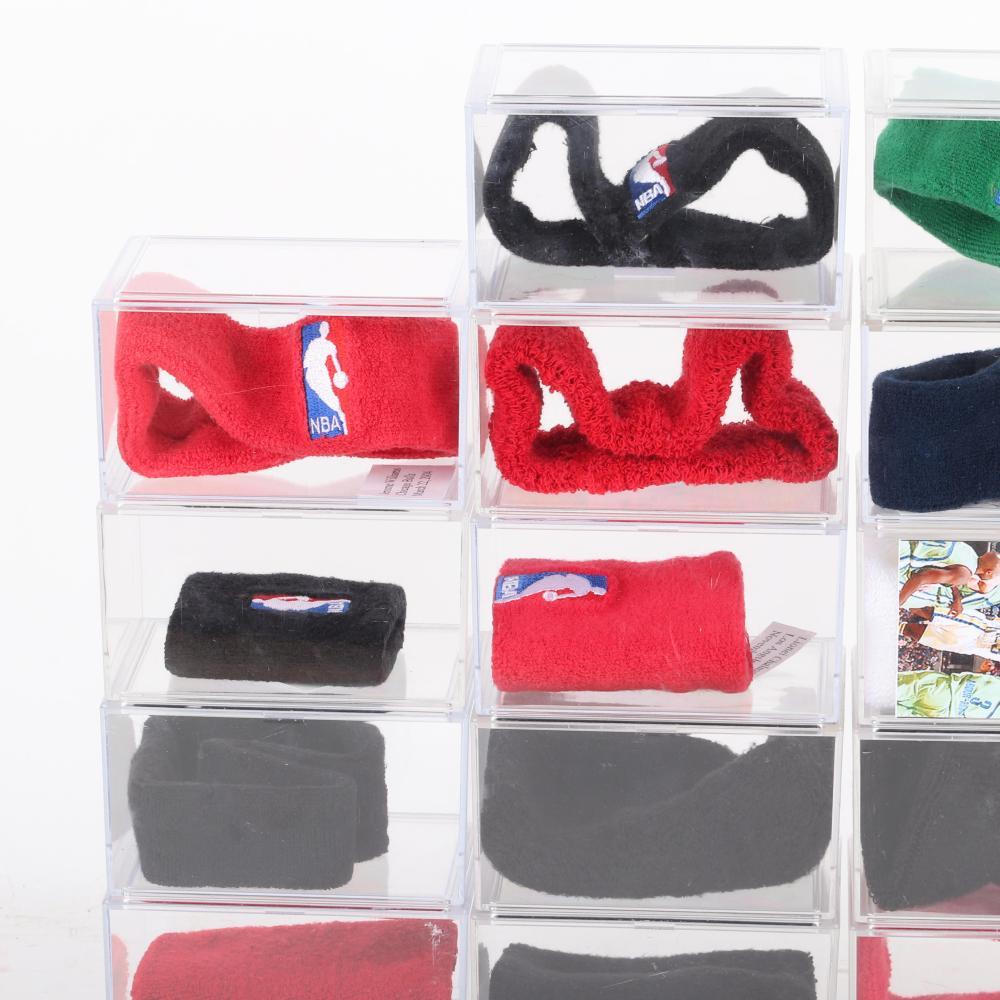 Lot of 22 NBA Basketball Game Used Headbands, Armbands & Wristbands