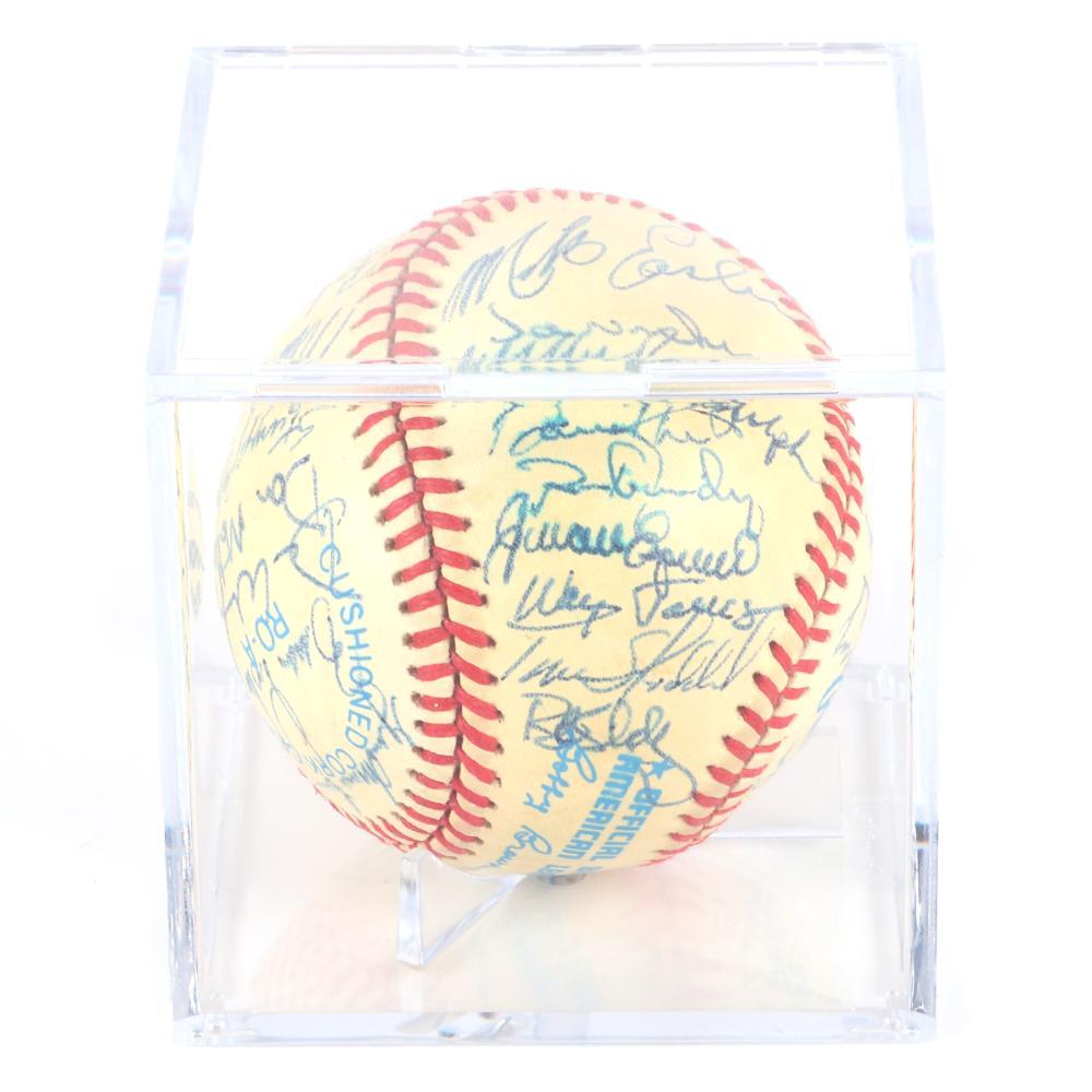 1986 New York Yankees Team Signed OAL Brown Baseball