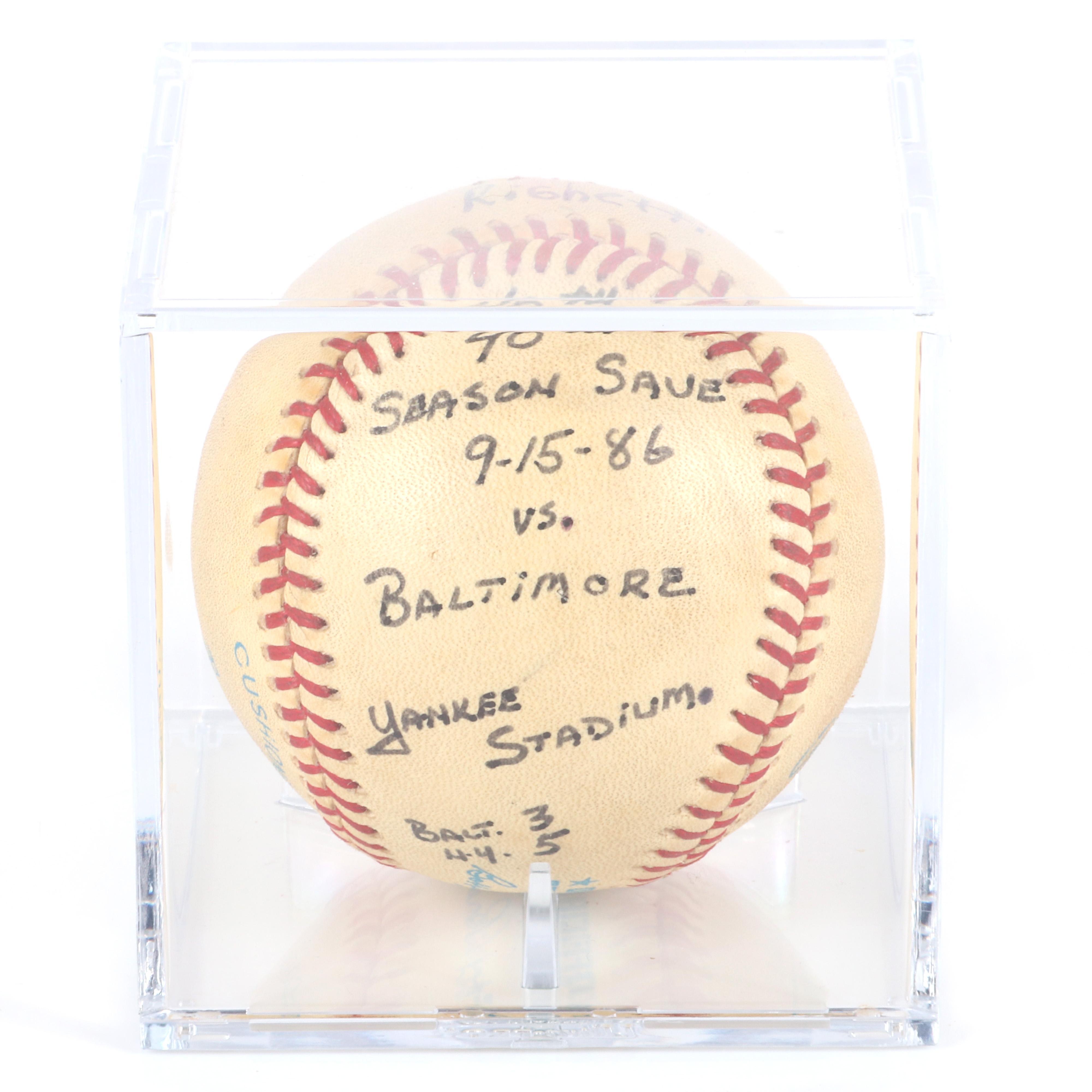 1986 Dave Righetti NY Yankees 40th Save Game Used Baseball