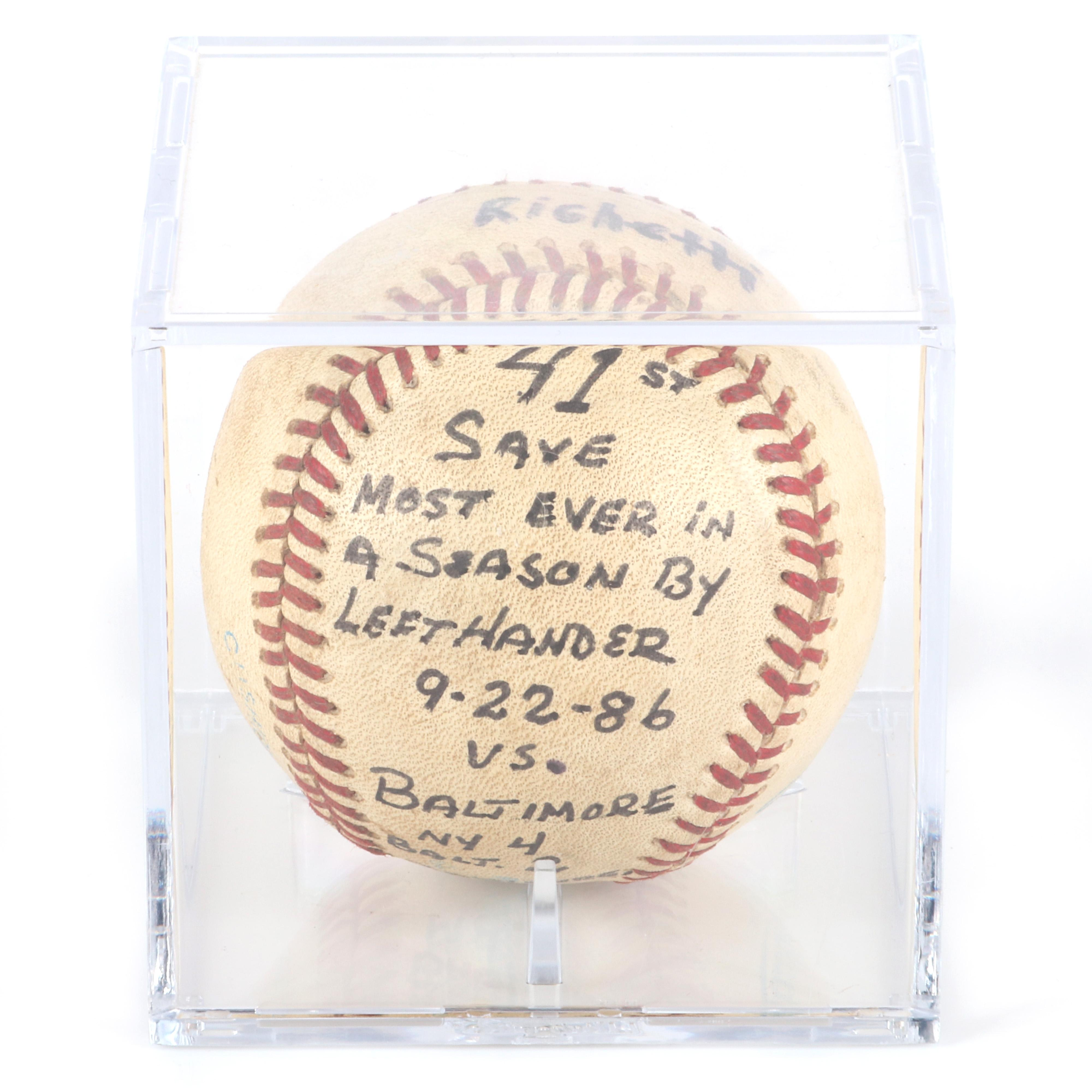 1986 Dave Righetti NY Yankees 41st Save Game Used Baseball, Most by Lefty