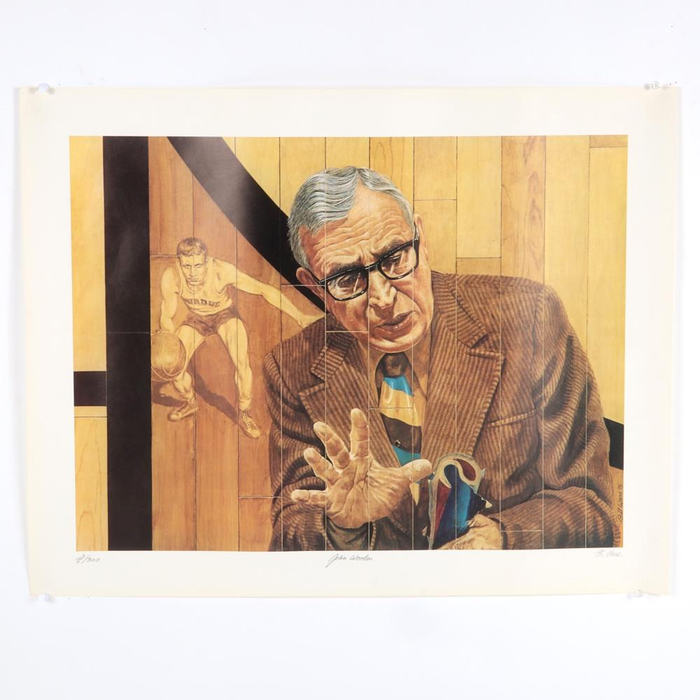 2 John Wooden Autographed Limited Edition Bill Ware Lithographs