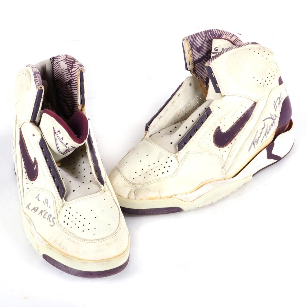 Terry Teagle Los Angeles Lakers Game Used & Autographed Shoes