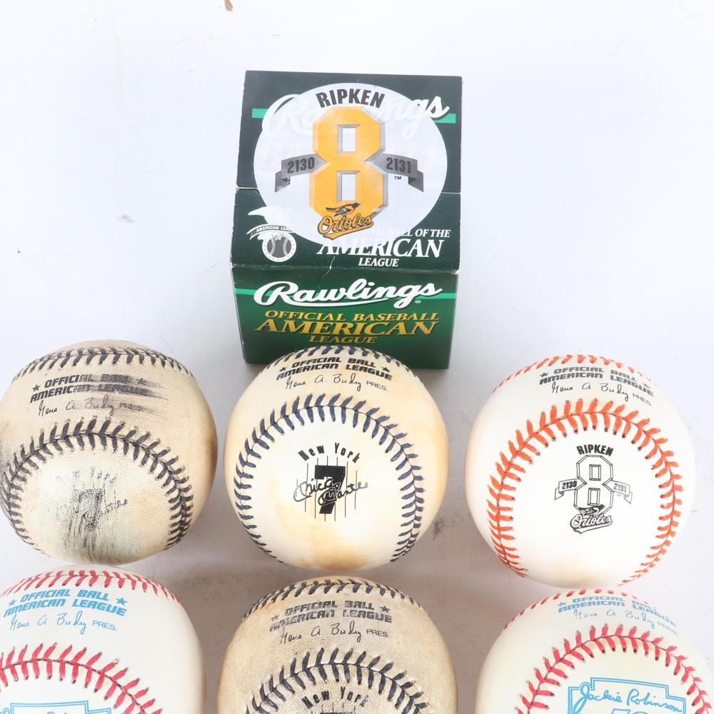 Lot of 8 Logo Baseballs, Robinson, Mantle, Ripken