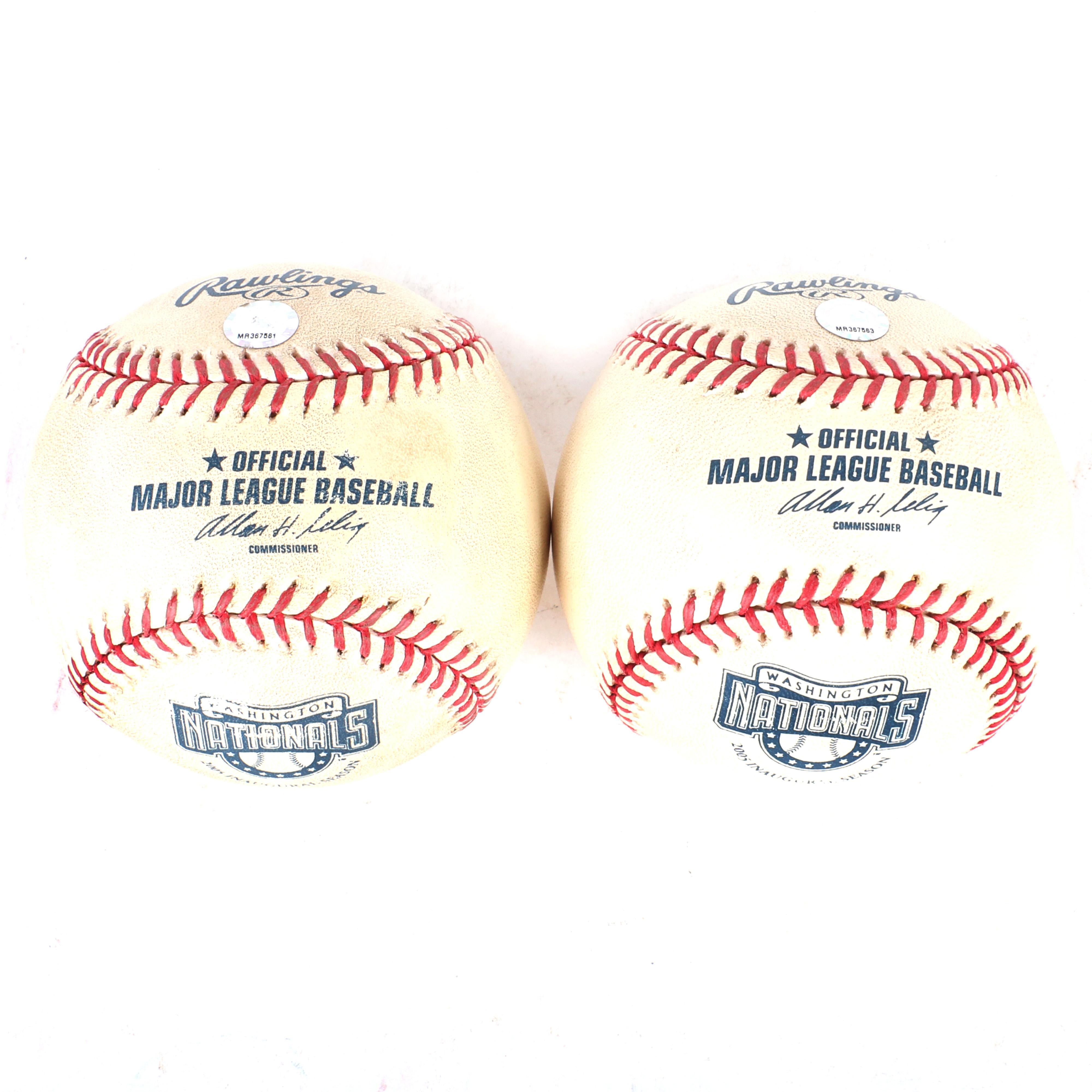 2-2005 Washington Nationals Inaugural Season Game Used Logo Baseballs