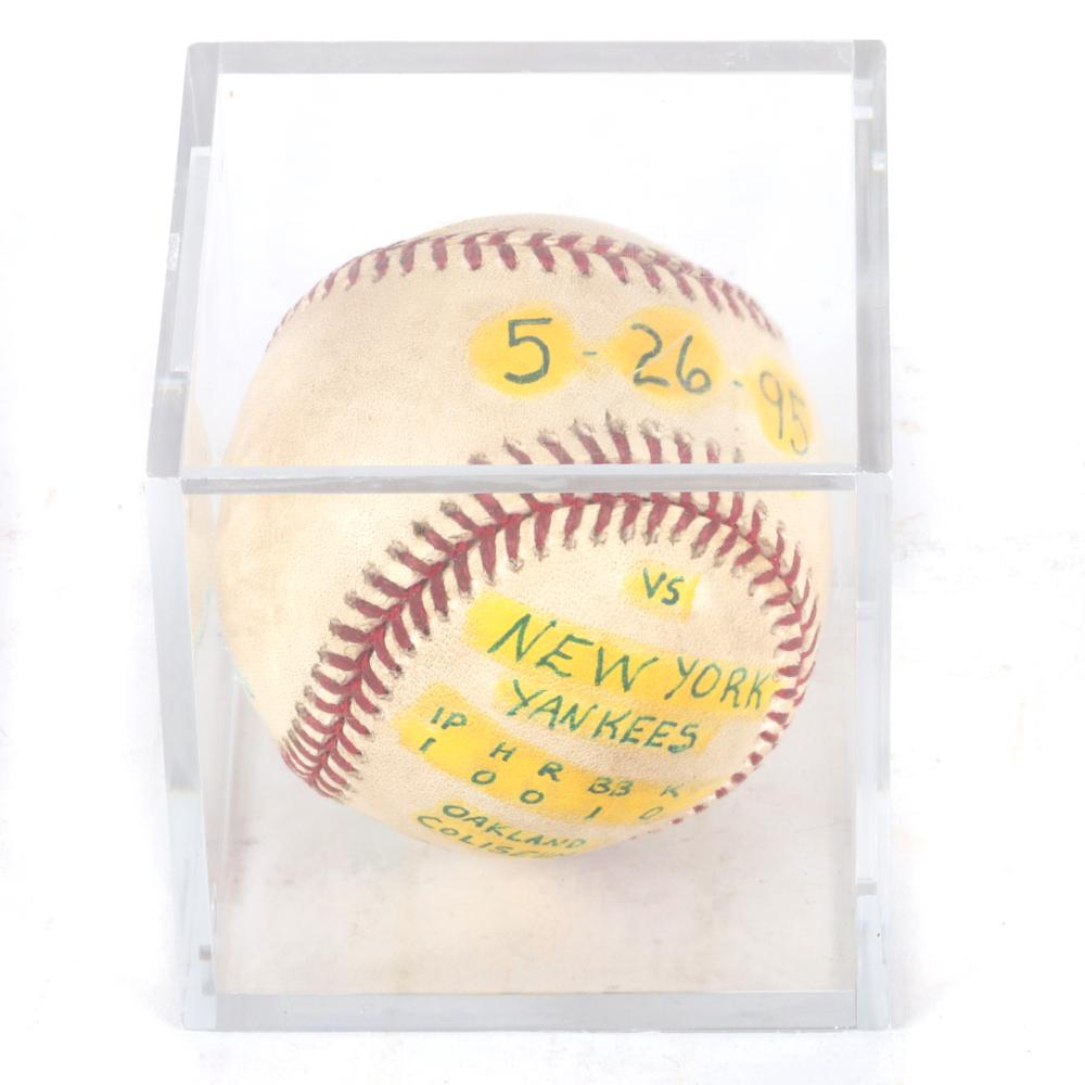 1995 NY Yankees vs Oakland A's Game Used Baseball