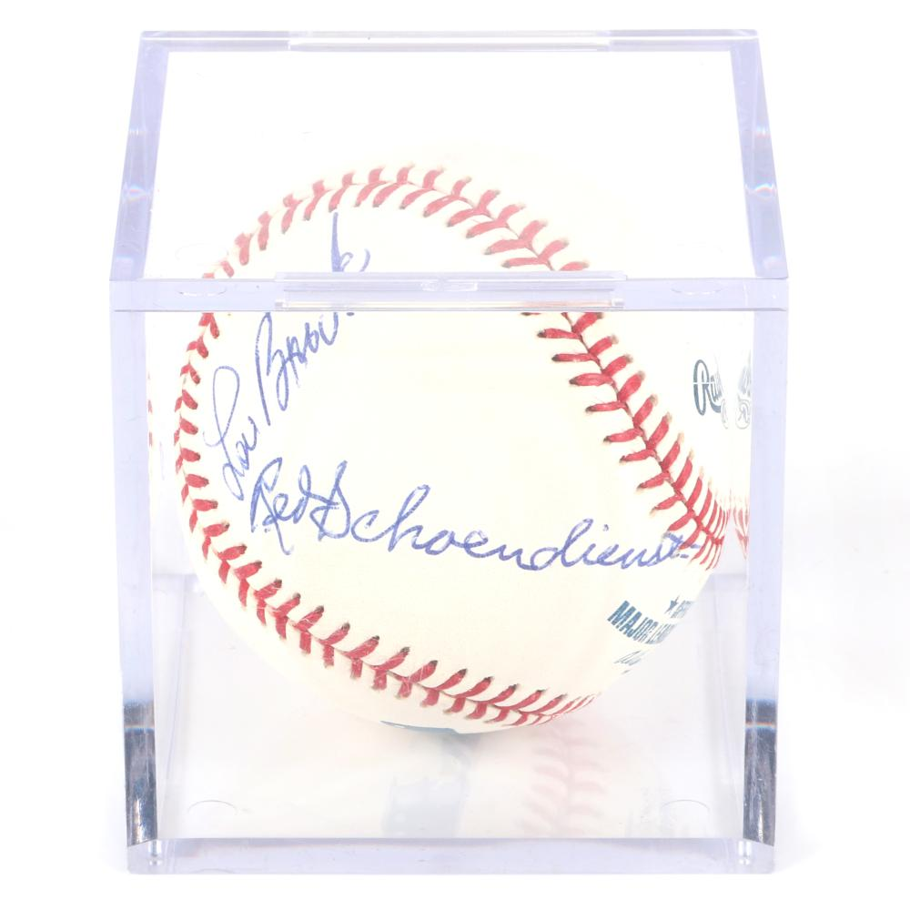 St. Louis Cardinals Greats Autographed OML Baseball, Musial, Brock, Gibson, Schoendienst