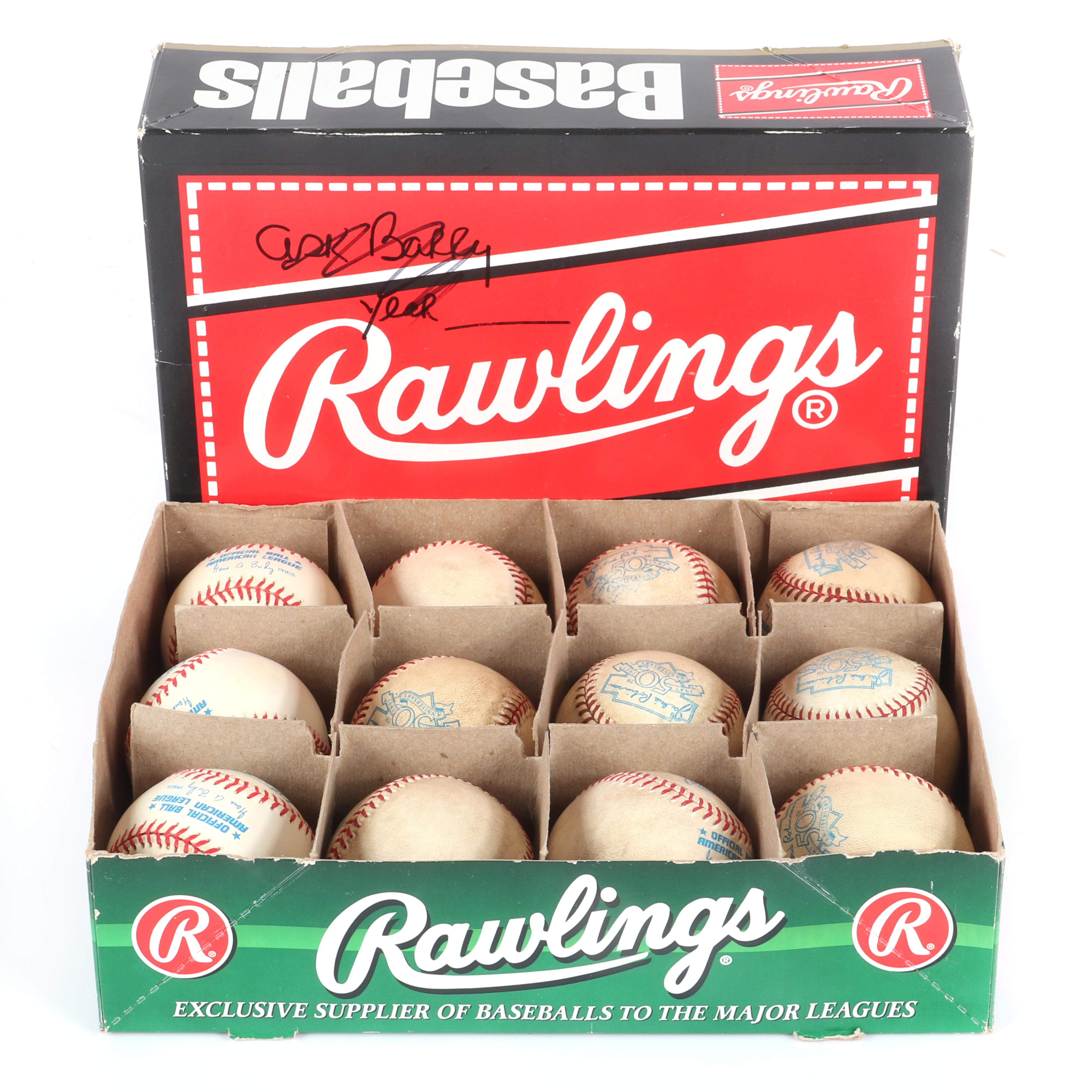 1 Dozen Jackie Robinson 1947-1997 50th Anniverary OAL Budig Baseballs, 9 Game Used